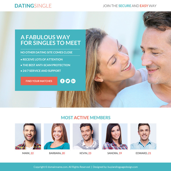 dating membership sign up responsive funnel design Dating example