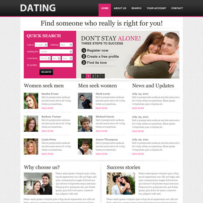converting quick search lead gen dating website template design Website Template PSD example