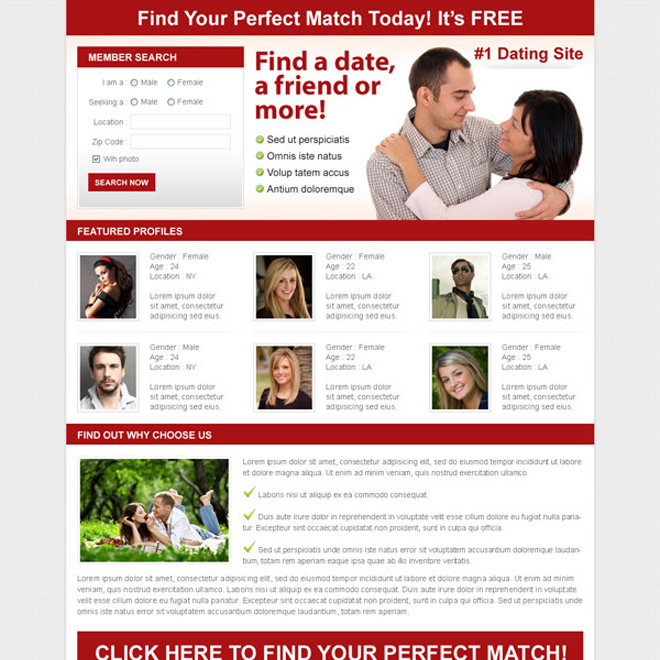 find the perfect match clean and effective dating lead capture design Dating example