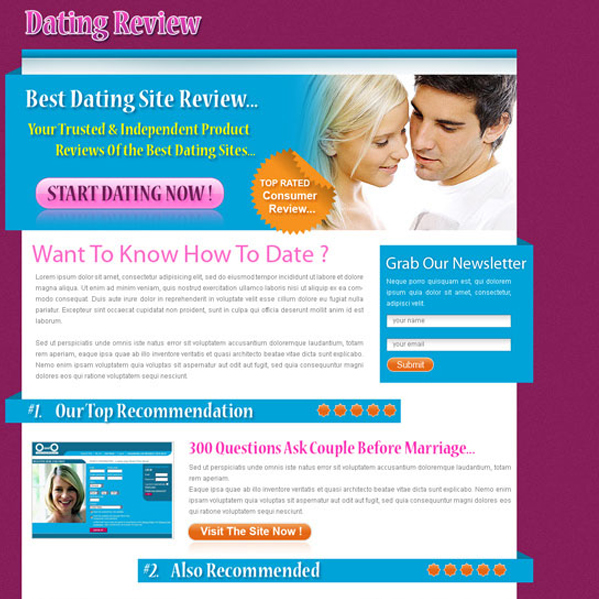 converting top 3 dating website review type html landing page design template Landing Page Design example