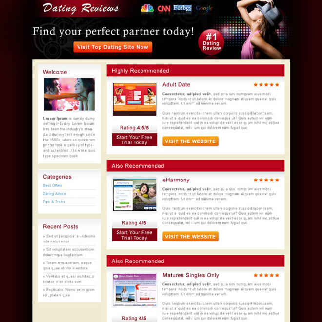 attractive and appealing dating review html landing page design Review Type example