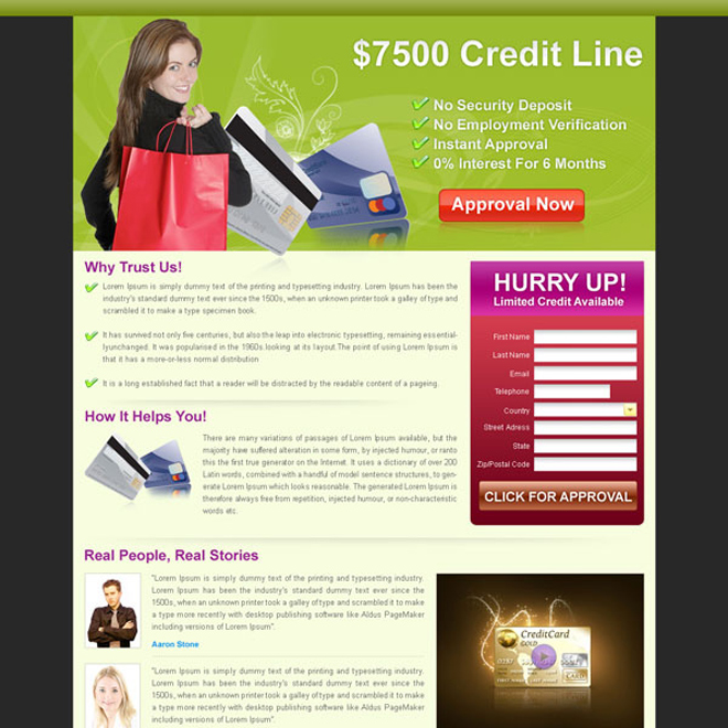 debt approval lead capture landing page design for sale Landing Page Design example