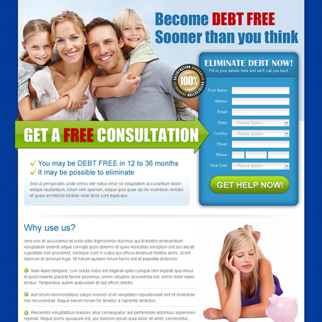 converting debt free lead capture lander design Debt example