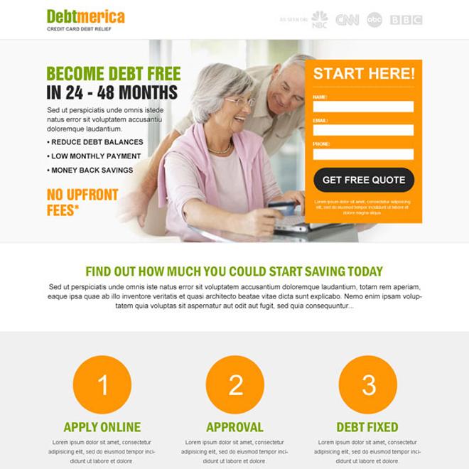 debt business lead capture responsive landing page design Debt example