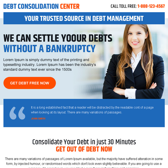 debt consolidation center call to action ppv landing page Debt example