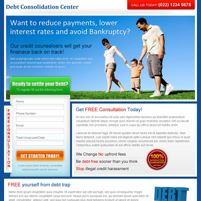 debt consolidation center lead capture landing page design for sale Debt example