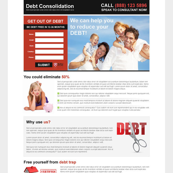 debt consolidation attractive and appealing lead capture landing page design Debt example