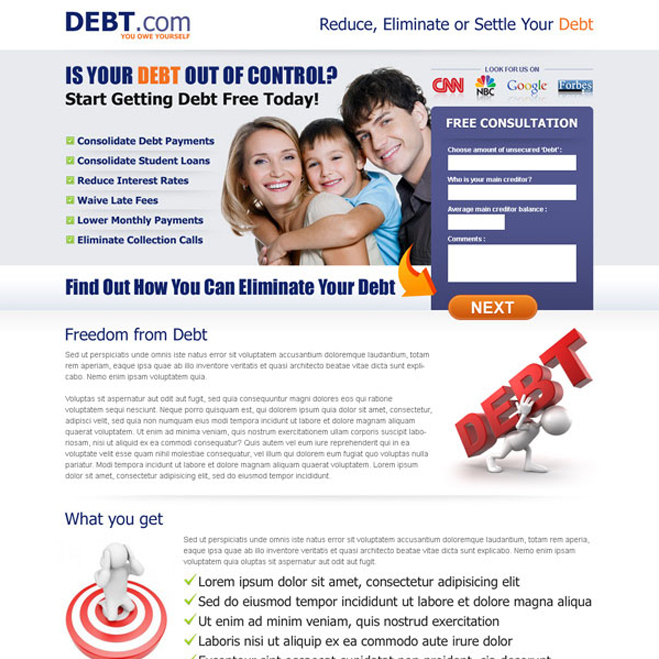 eliminate your debt small lead capture form landing page Debt example