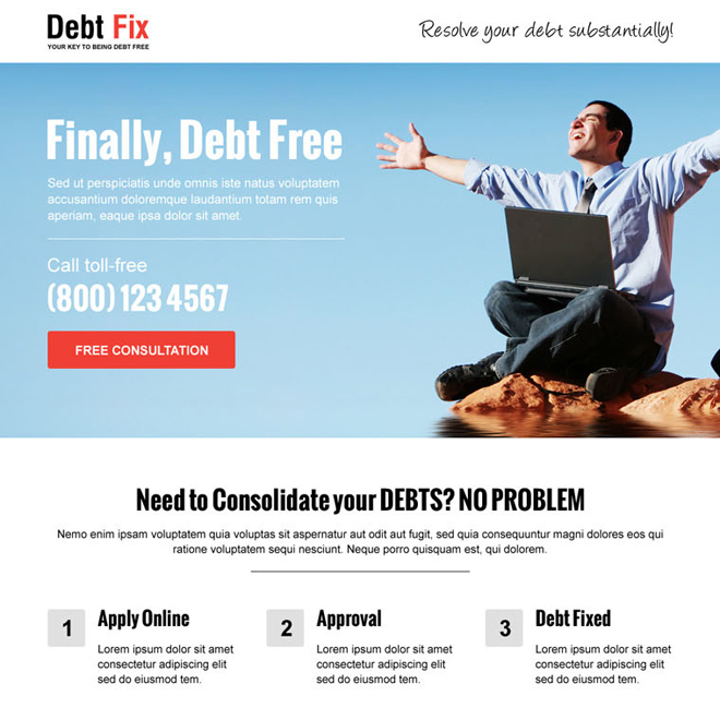 free from debt lead capture and call to action landing page design template Debt example