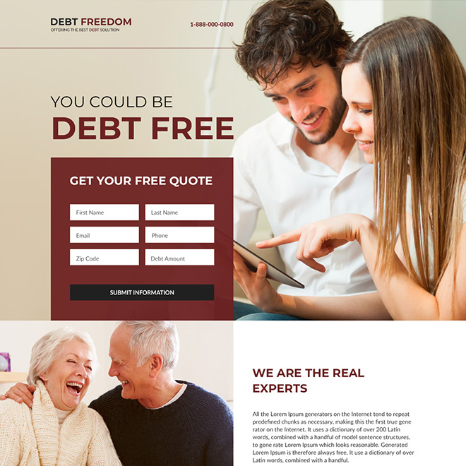 best debt relief responsive landing page design Debt example