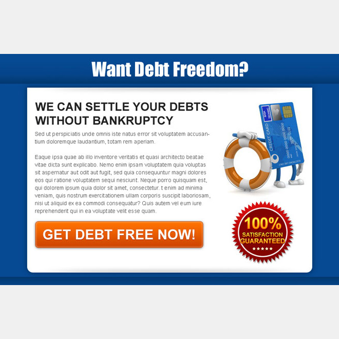 settle your debts without bankruptcy effective and appealing landing page design Debt example