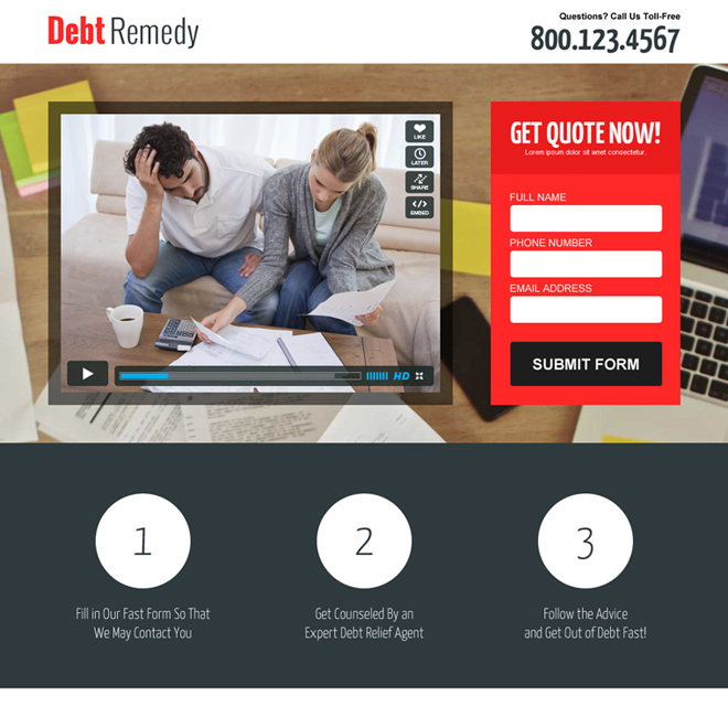 debt relief business converting responsive lead capture landing page design Debt example