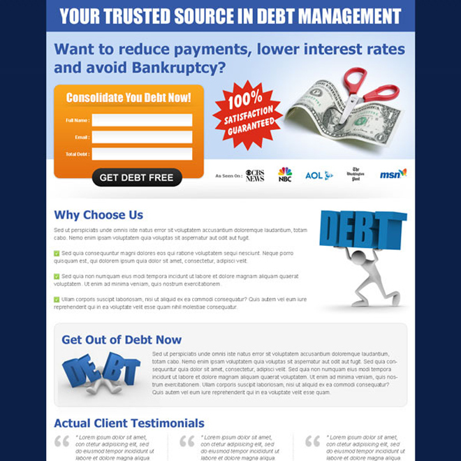 your trusted source in debt management simple lead capture landing page design Debt example