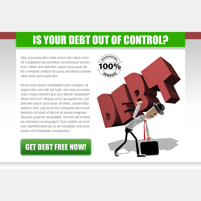 get debt free now effective ppv landing page design template Debt example