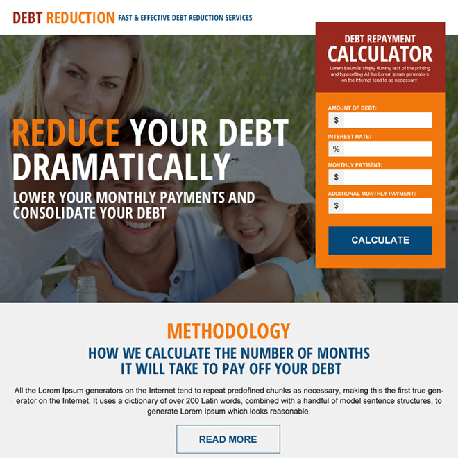 debt reduction repayment calculator landing page design Debt example