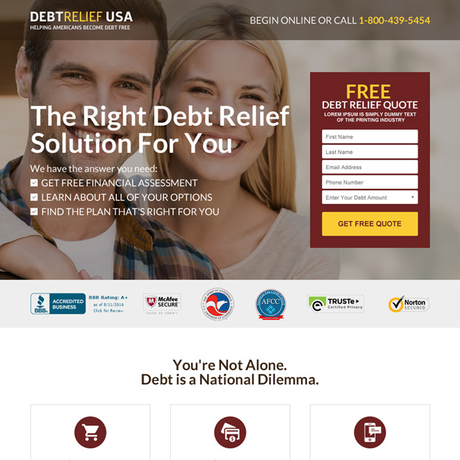 debt relief america free consultation landing page design Debt example