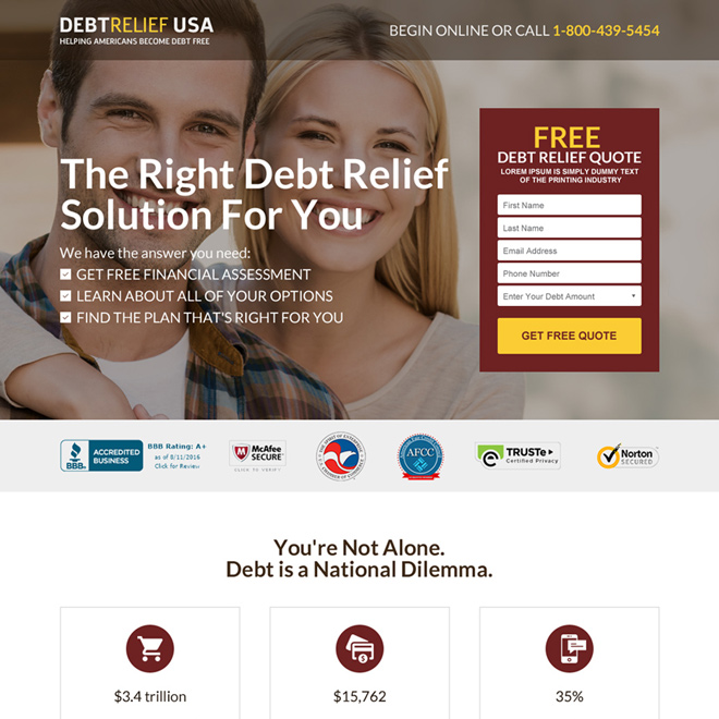 debt relief america free consultation responsive landing page Debt example