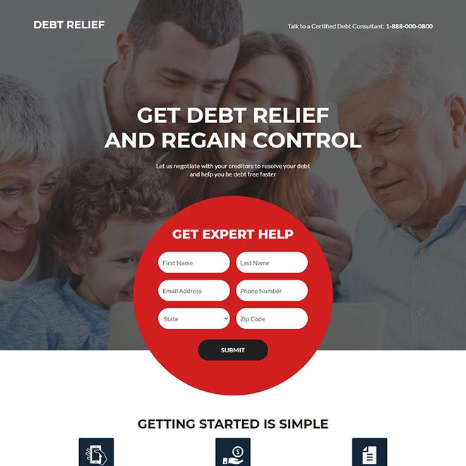 debt relief assistance responsive landing page design Debt example