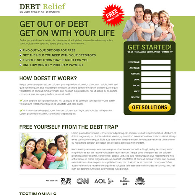 debt relief landing page design to maximize your business conversion rate Debt example