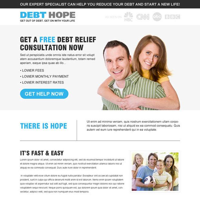 debt relief consultation service responsive landing page design Debt example