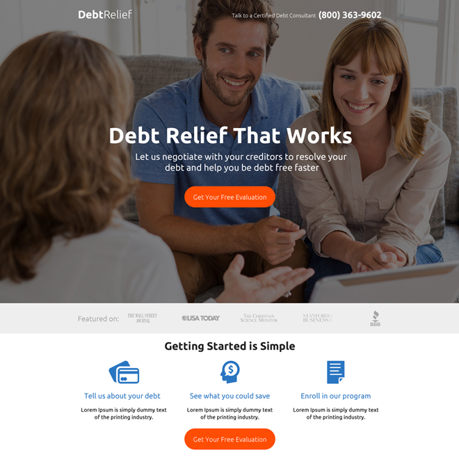 debt relief evaluation premium landing page design Debt example