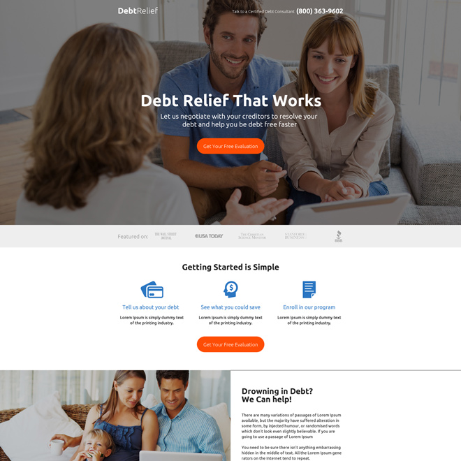 responsive debt relief evaluation strong call to action landing page Debt example