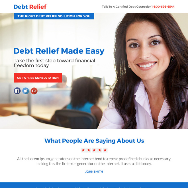 debt relief solution free consultation lead funnel responsive landing page Debt example