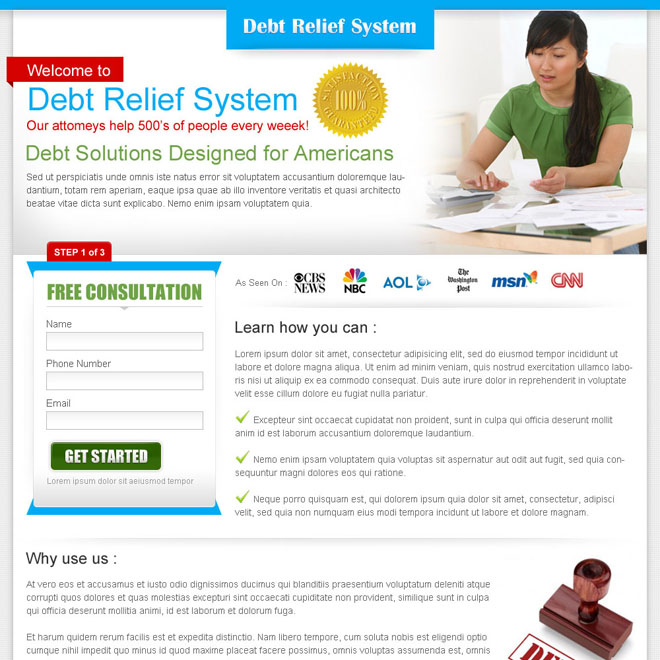 debt relief system clean and minimal landing page design for sale Debt example