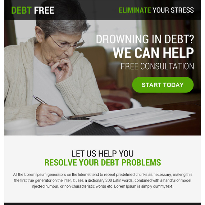 debt relief free consultation ppv landing page Debt example