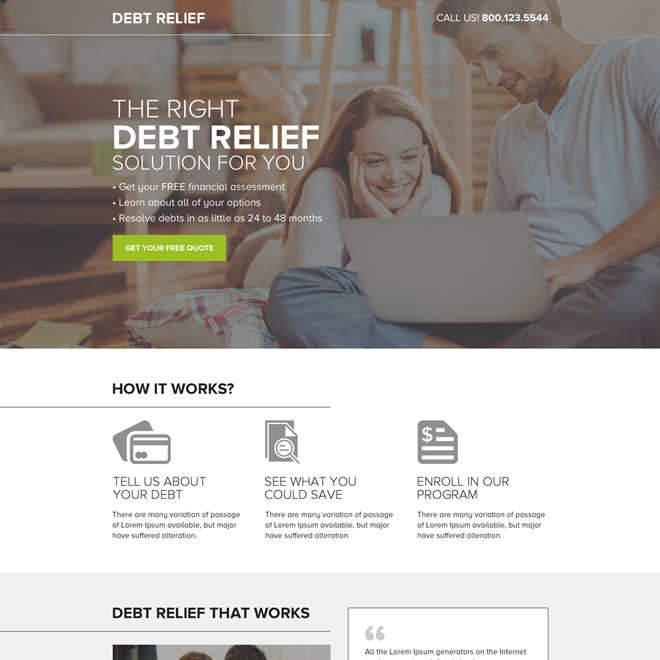 debt relief free quote mini landing page design Debt example