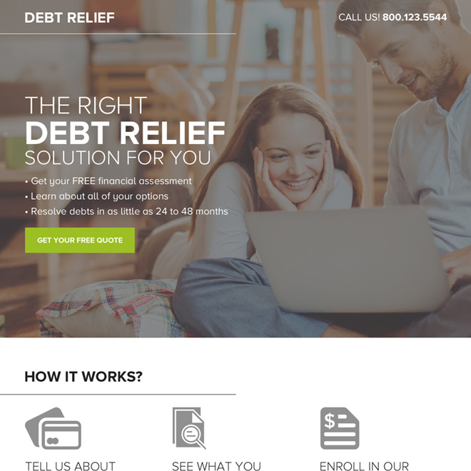 debt relief free quote lead capturing responsive landing page design Debt example