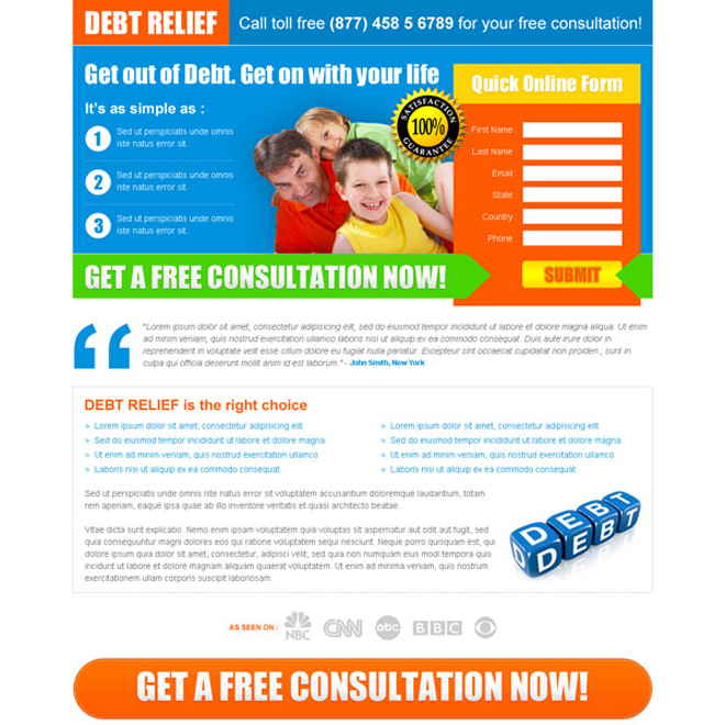 debt relief lead capture squeeze page design Debt example