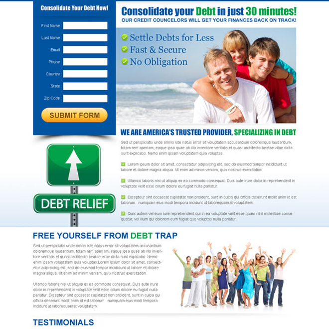 consolidate your debt effective and converting lead capture page Debt example