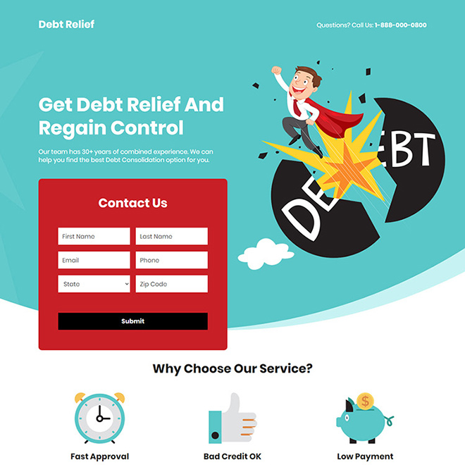 debt consolidation service responsive landing page design Debt example