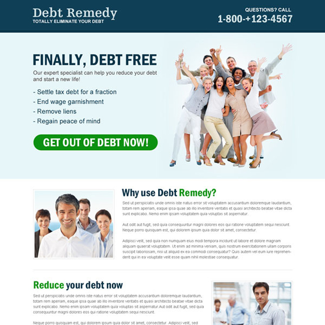 clean and effective debt responsive call to action landing page Debt example