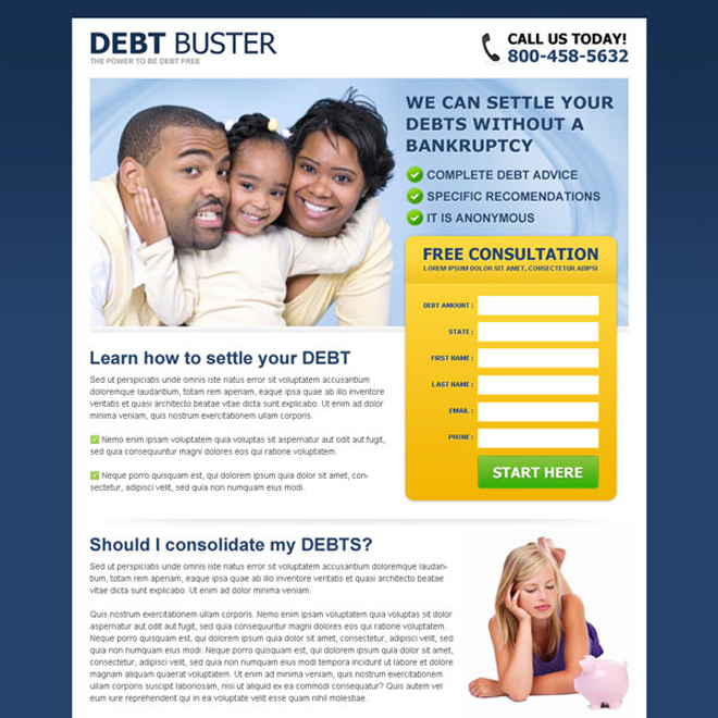 debt buster eliminate your debt without a bankruptcy free consultation lead gen page Debt example