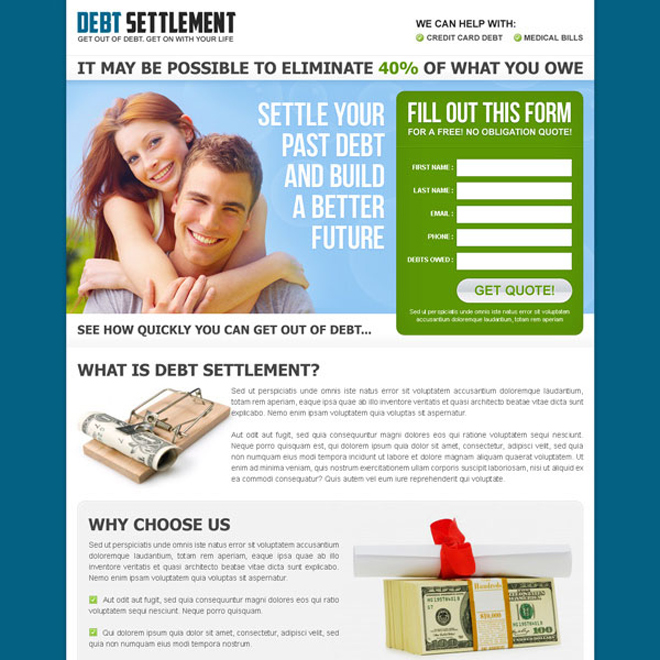 settle your past debt and build a better future converting landing page design Debt example