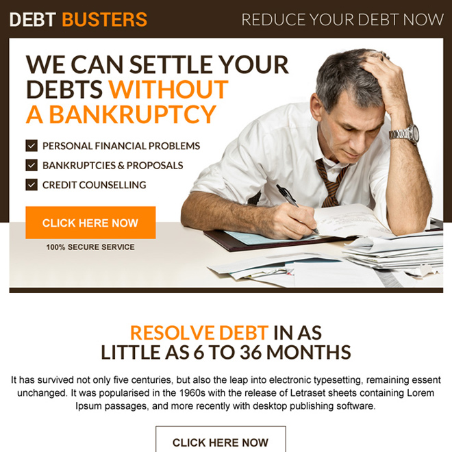 debt settlement without bankruptcy ppv landing page design Debt example