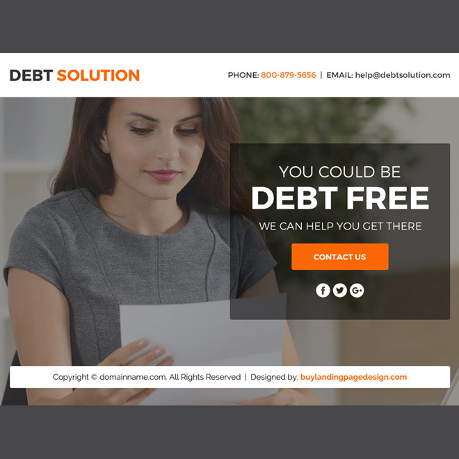 debt solution marketing funnel landing page design Debt example