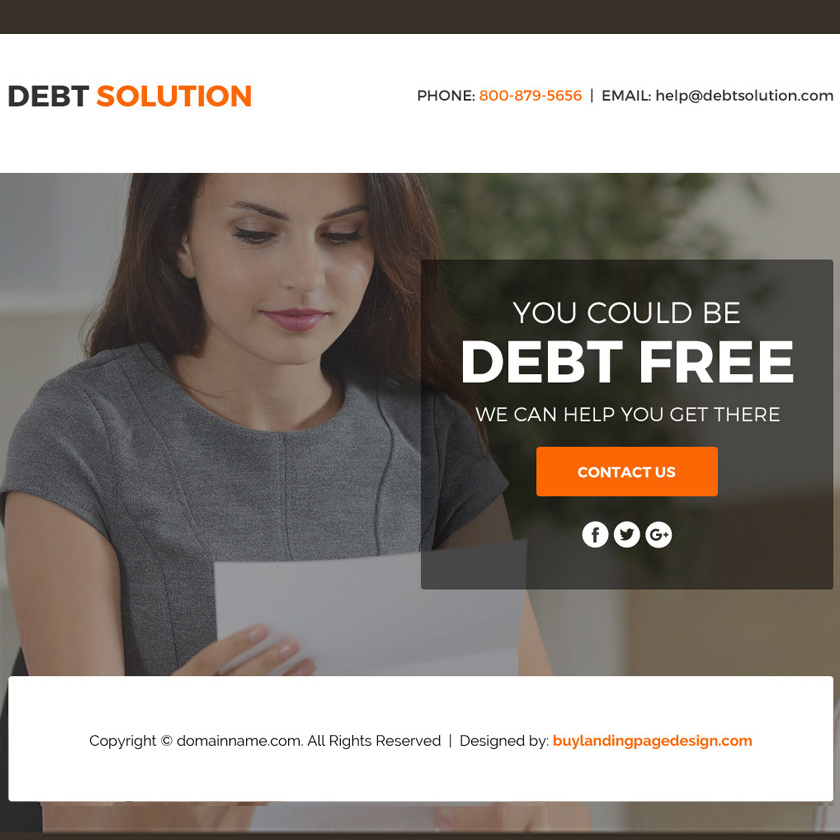 debt solution marketing funnel responsive landing page Debt example