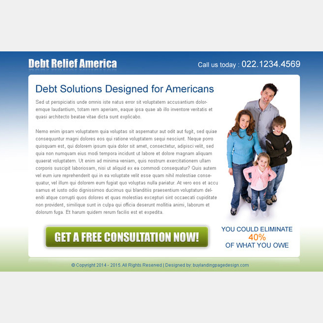 debt solutions for americans converting ppv landing page design template PPV Landing Page example