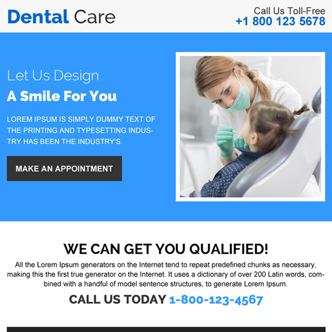 dental care appointment booking ppv design Dental Care example
