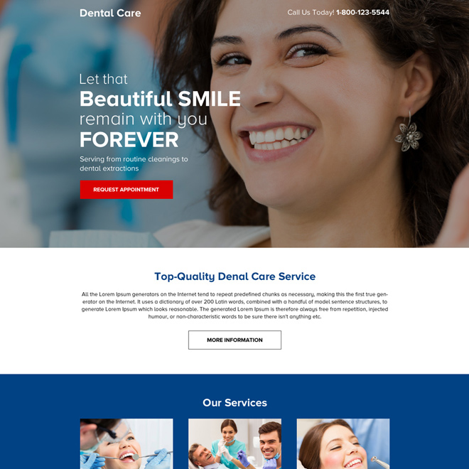 dental care service click through mini landing page design Dental Care example
