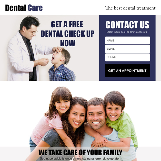 dental care for your family lead generation ppv landing page design Dental Care example