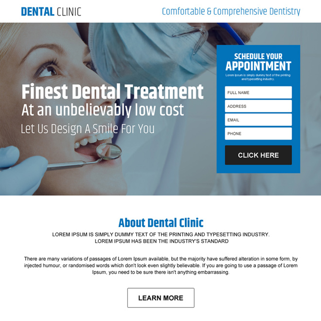 dental clinic appointment lead capture landing page design Dental Care example
