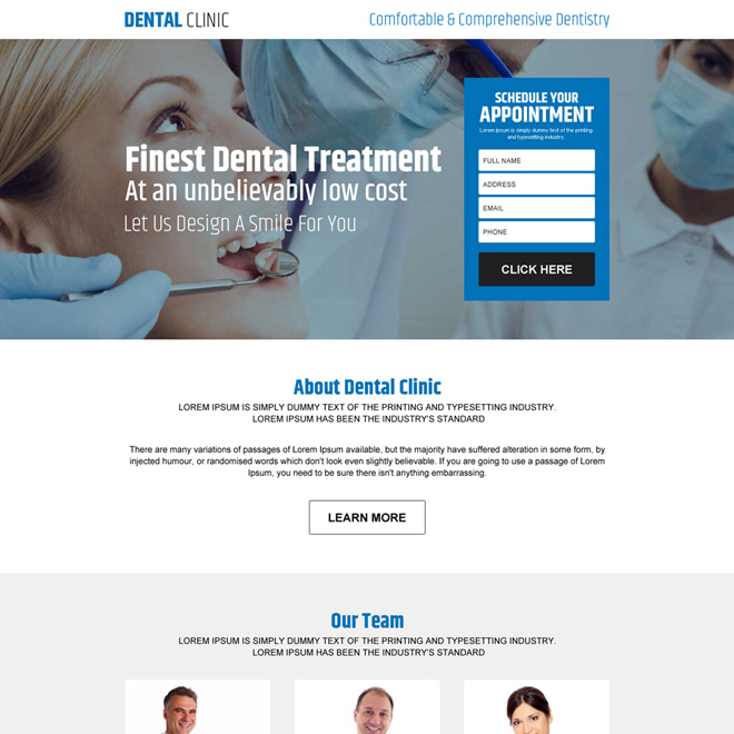 dental clinic appointment responsive landing page design Dental Care example