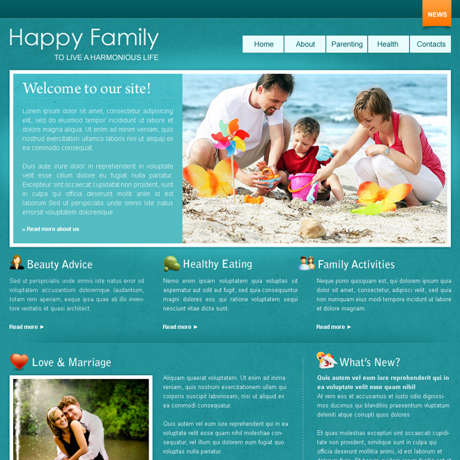 happy family website template design psd for sale Website Template PSD example