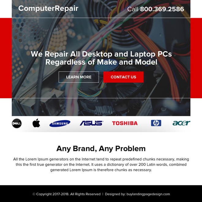 desktop and laptop repair ppv landing page Computer Repair example