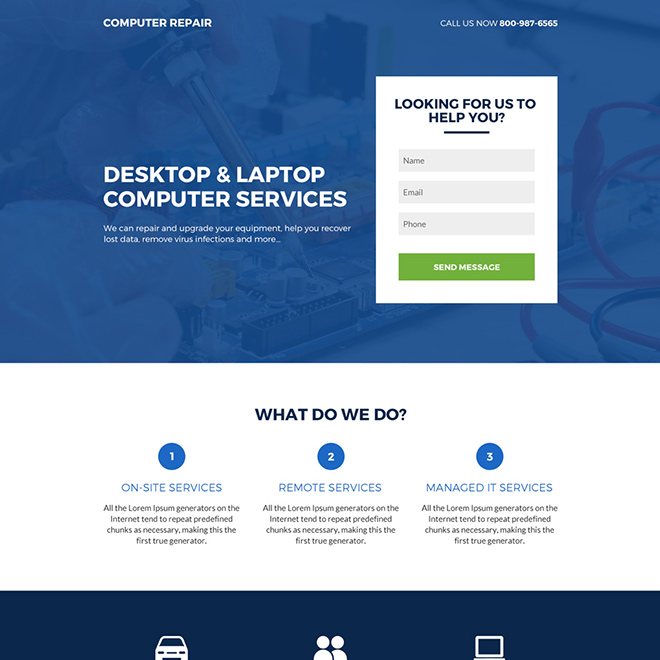 desktop and laptop computer services lead capture responsive landing page Computer Repair example