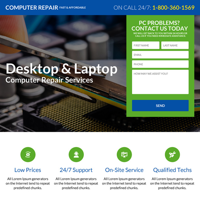 responsive desktop and computer repair landing page design Computer Repair example